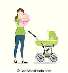 Beauty woman with newborn baby and baby carriage
