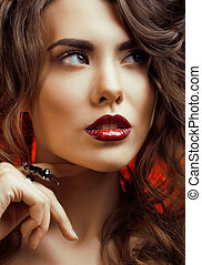 Beauty Woman with Perfect Makeup Beautiful Professional Holiday Make-up