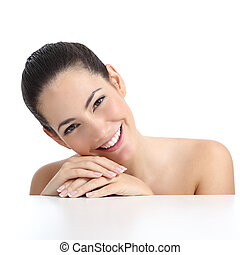 Beauty woman with perfect skin manicure and white smile isolated on a white background
