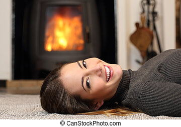 Beauty woman with perfect smile resting at home