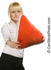 beauty woman with pillow