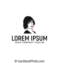beauty woman with red lip logo design concept template