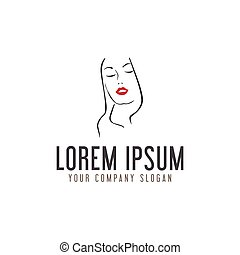 beauty woman with red lips logo design concept template