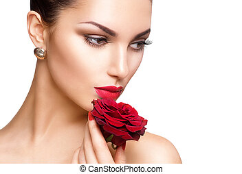 Beauty woman with red rose isolated on white background