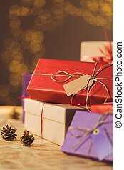 Beauty wrapped xmas presents - Vertical view of beauty...