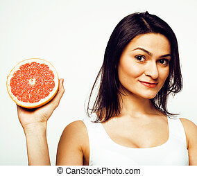 beauty young brunette woman with grapefruit isolated on white background, happy smiling healthy food concept, lifestyle people
