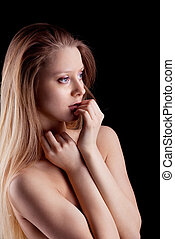 Beauty young naked sadness girl look at light