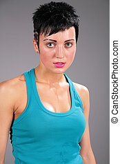beauty young sweaty woman in blue t-shirt