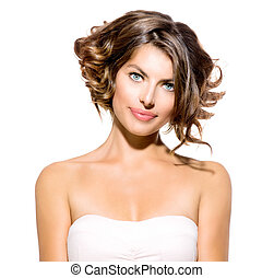Beauty Young Woman Portrait Isolated over White Background