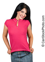 Beauty young woman presenting her blank t-shirt