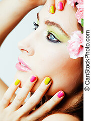 Beauty young woman with flowers and make up