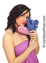 Beauty young woman with hyacinth bouquet - Beauty young...
