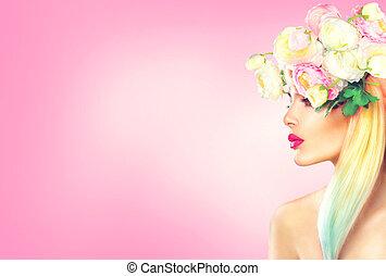 beauty, zomer, model, meisje, met, bloeiende bloemen, hairstyle