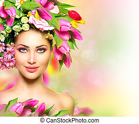 beauty, zomer, model, meisje, met, kleurrijke bloemen, hairstyle