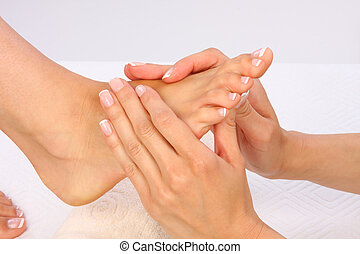 beautybehandeling, foto, -, voetjes, masseren