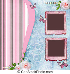 Beautyful album page in scrapbook style  with  paper frames for photo, butterfly, rose (1 of set)