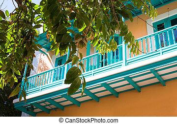 San Juan - beautyful balcony at colorful house at Old San ...