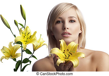 beautyful blond girl with lily