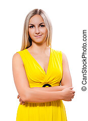 beautyful blonde in yellow dress isolated
