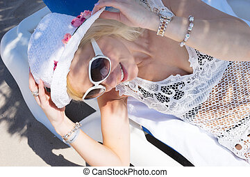 beautyful blonde woman on the beach