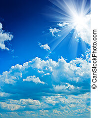 beautyful cloudy blue sky with sun