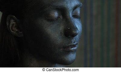 beautyful, face.art, elle, face., espace, noir, image, girl, scintillement, beauté