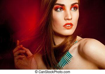 beautyful, mulher, sobre, criativo, escuro, maquiagem