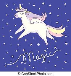 Beautyful unicorn. On night sky background with stars
