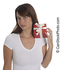 Beautyful young woman with a present