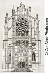 Beauvais cathedral, side portal, old illustration. By unidentified author, published on Magasin Pittoresque, Paris, 1840