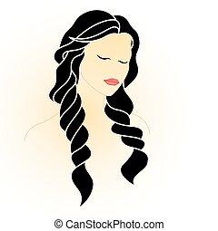 beaux yeux, femme, longs cheveux, fermé