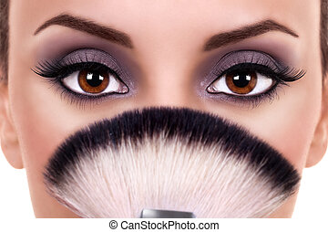 beaux yeux, femme, maquillage