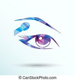 beaux yeux, maquillage, différent, vecteur, femme