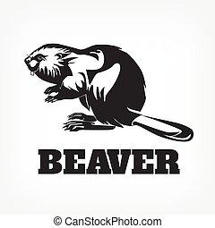 beaver., ベクトル, 黒, イラスト