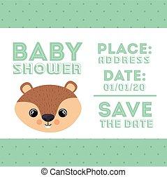 beaver animal baby shower card icon