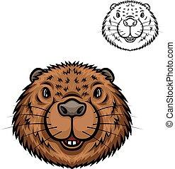 Beaver animal head isolated cartoon icon