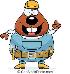 Beaver Builder - A happy cartoon builder beaver with ...
