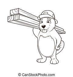 Beaver builder coloring book vector illustration - Beaver...