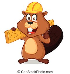 Beaver carrying wood plank give thumb up