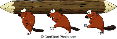 Beaver - Cartoon beavers have a log, vector illustration