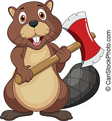 Beaver cartoon holding axe - Vector illustration of beaver...