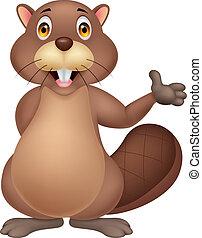 Beaver cartoon waving hand - Vector illustration of cute...