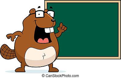 Beaver Chalkboard - A happy cartoon beaver at a chalkboard...