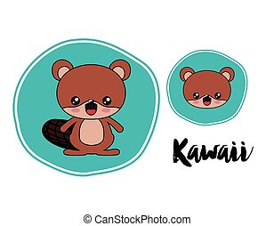 beaver character kawaii style isolated icon design