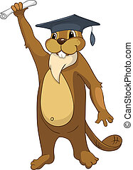 """Cartoon Character Beaver CREES Isolated on White Background. Vector. Look for Funny Beaver by Keyword """"CREES"""""""