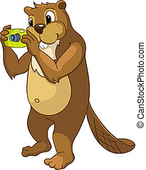 """Beaver CREES Isolated on White Background. Look for Funny Beaver by Keyword """"CREES"""""""