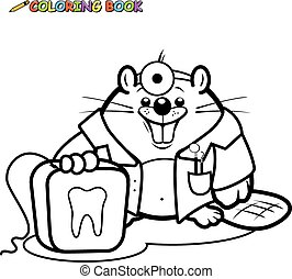 Beaver dentist. Black and white coloring book page