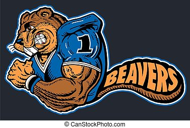 mascot football player with beavers written in the tail