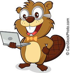 Clipart picture of a beaver geek cartoon character holding laptop