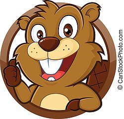 Beaver giving thumb up - Clipart picture of a beaver cartoon...